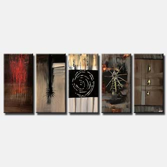 abstract symbols on five canvases multi panel