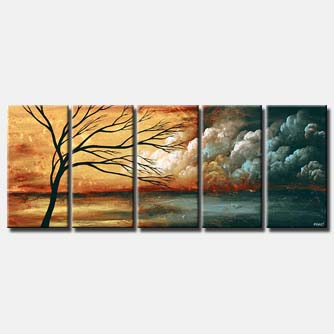 multi panel canvas clouds painting sky landscape