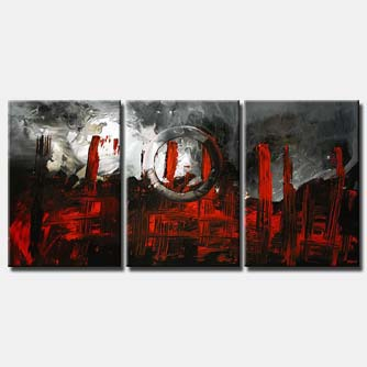 red and gray triptych abstract dark art