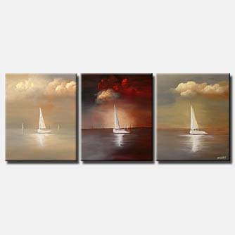 sail boats on three canvases triptych