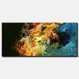 large modern abstract in gold and blue