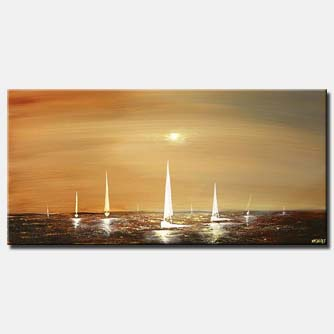 large seascape of sail boats landscape