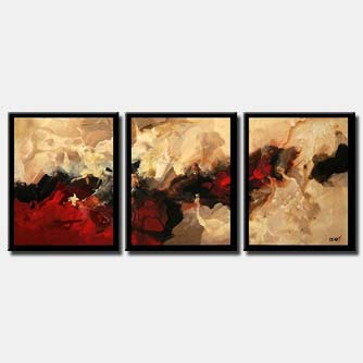 modern abstract painting border triptych
