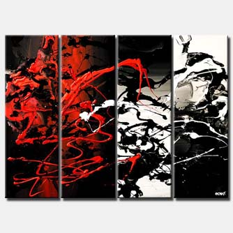 multi panel splash abstract in red black and white