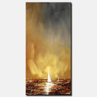 modern seascape white sail boat vertical