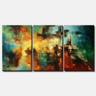 colorful modern painting triptych home decor