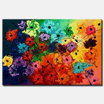 bold colorful flowers home decor large painting
