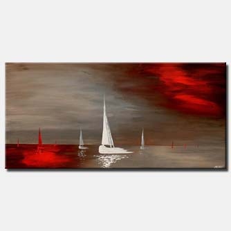 red and white sail boats home decor horizontal