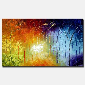 bold colorful palette knife forest enchanted