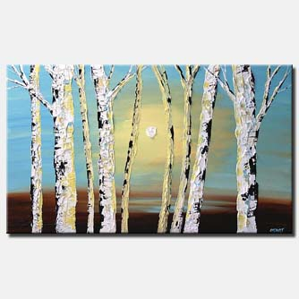 textured painting birch trees home decor sunshine