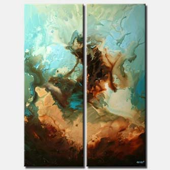 diptych brown blue abstract painting vertical