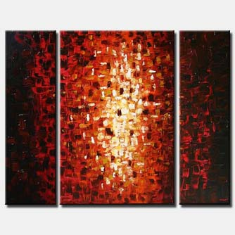 triptych small red squares light shine pixel