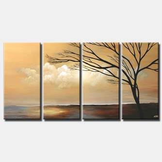 multi panel soft landscape tree clouds