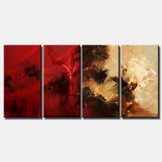 red beige multi panel decor painting mars