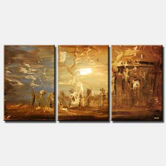 soft brown sunrise triptych home decor brown