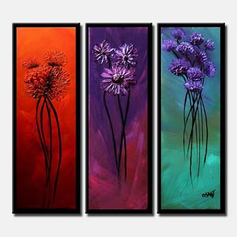 triptych flowers blossom border floral vertical
