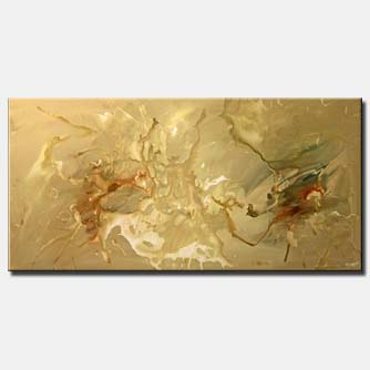 large horizonal beige painting splash soft