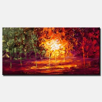 textured forest painting trees colors large