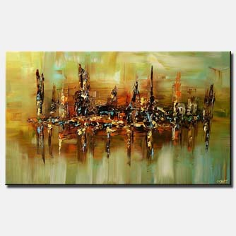 modern city home decor building large art