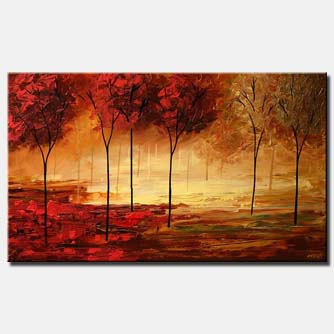 red forest textured painting home decor trees