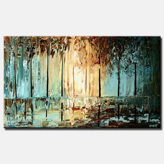 dense forest abstract textured painting