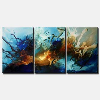 multi panel blue decor wall painting triptych