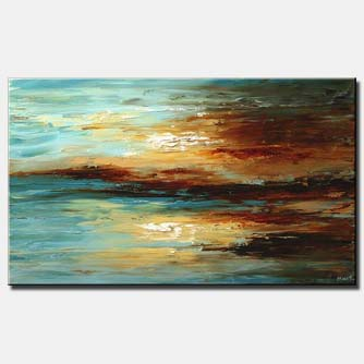 abstract seascape in blue and brown
