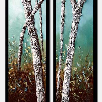 palette knife birch trees vertical diptych