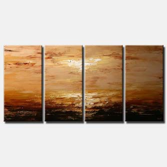 multi panel painting in brown tones landscape