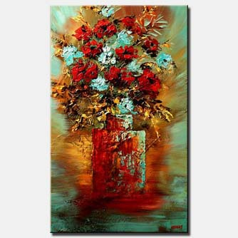 red vase with red flowers vertical floral blue