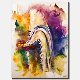 jewish rabbi during morning pray colorful