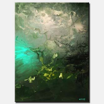 vertical abstract green tones home decor
