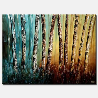 textured painting palette knife birch trees
