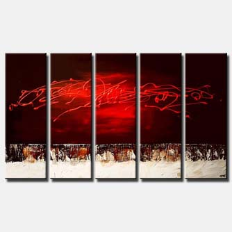 red multi panel abstract painting vertical
