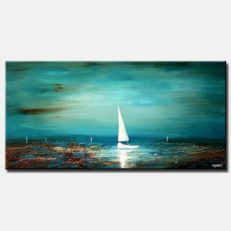 white sailboat seascape painting home decor