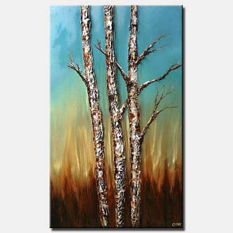 vertical textured painting birch trees