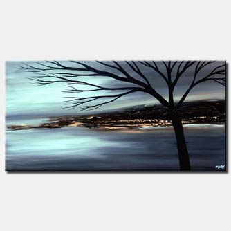 landscape painting in soft blue gray