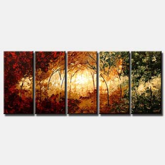 multi panel palette knife shiny forest