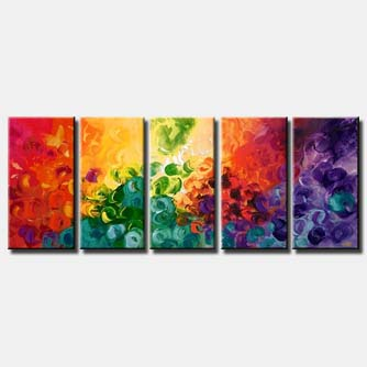 multi panel bold colorful abstract sun