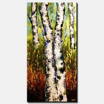 palette knife beautiful birch trees decor