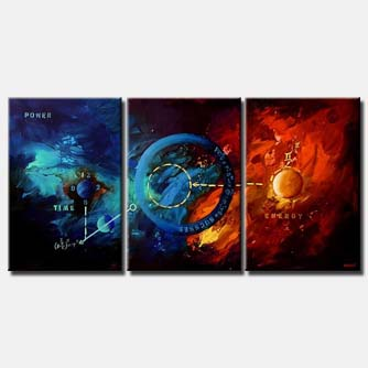 modern triptych canvas in blue and red