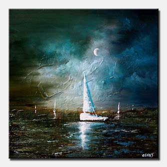 moonlight sailing seascape painting