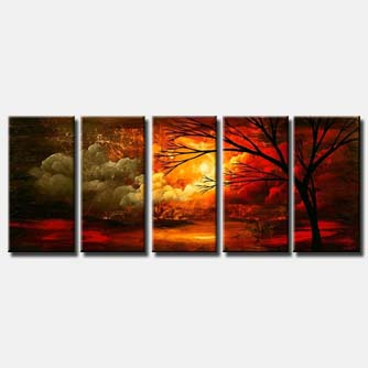 red clouds landscape multi panel seasons