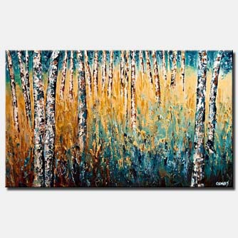 dense forest of birch trees home decor
