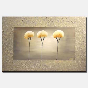 abstract painting three trees in frame