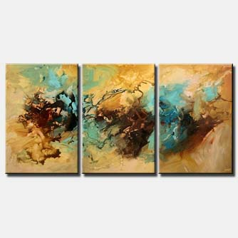 triptych abstract decor wall home soft