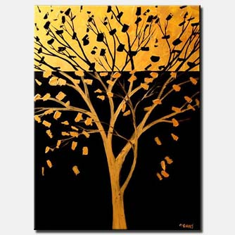 golden tree large abstract art brown yellow