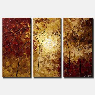 textured painting red forest trees triptych