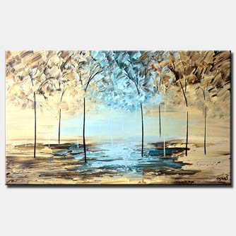trees by the lake wall decor white blue