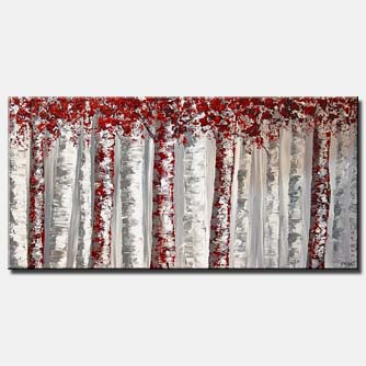 textured red and white birch trees